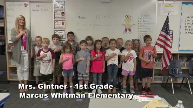 Raise The Flag Mrs. Gintner's 1st Grade Class At Marcus Whitman Elementary