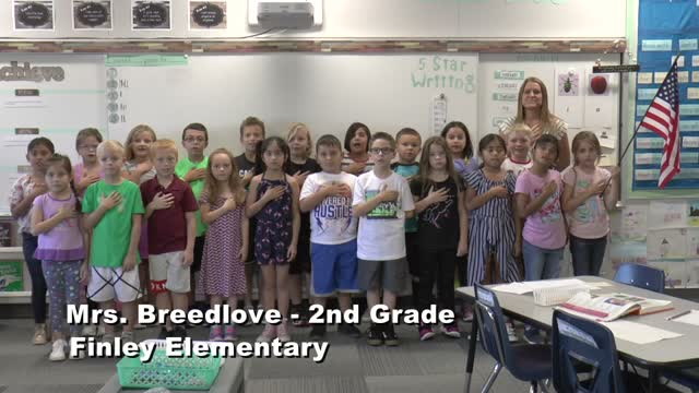Raise The Flag Mrs. Breedlove's 2nd Grade Class At Finley Elementary