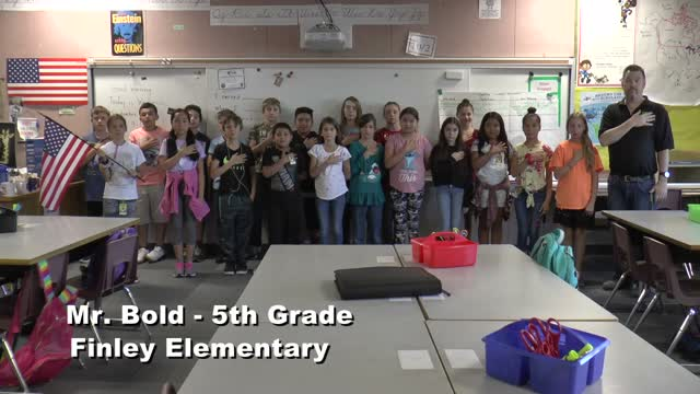 Raise The Flag Mr. Bold's 5th Grade Class At Finley Elementary