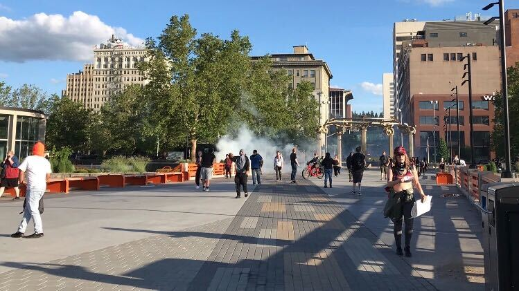 Spokane Police deploy tear gas, rubber bullets