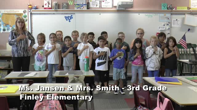 Raise The Flag Ms. Jansen's 3rd Grade Class At Finley Elementary