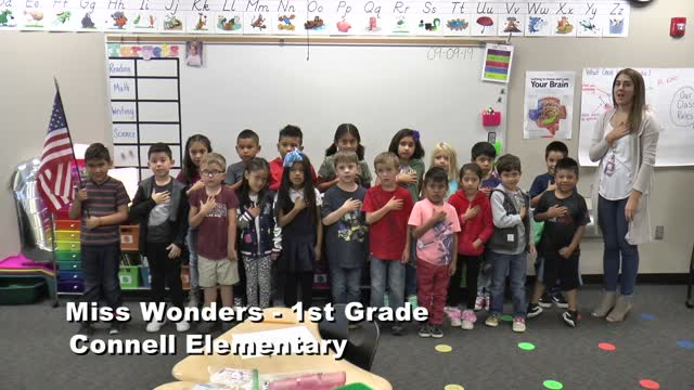 Raise The Flag Miss Wonders' 1st Grade Class At Connell Elementary