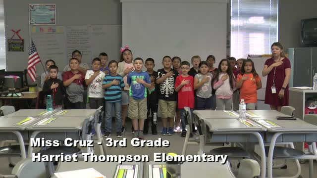 Raise The Flag Miss Cruz' 3rd Grade Class At Harriet Thompson Elementary