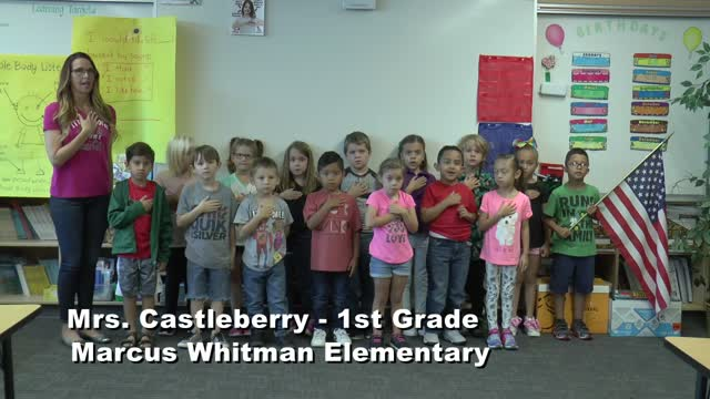 Raise The Flag Mrs. Castleberry's 1st Grade Class At Marcus Whitman Elementary