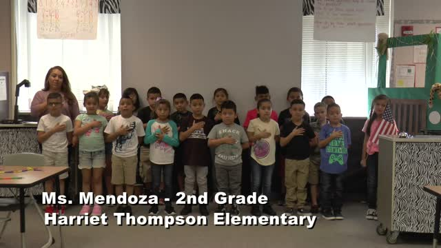 Raise The Flag Ms. Mendoza's 2nd Grade Class At Harriet Thompson Elementary