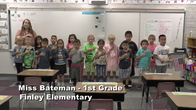 Raise The Flag Miss Bateman's 1st Grade Class At Finley Elementary