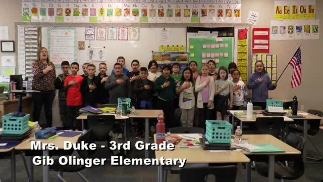 Raise The Flag Mrs. Duke's 3rd Grade Class At Gib Olinger Elementary