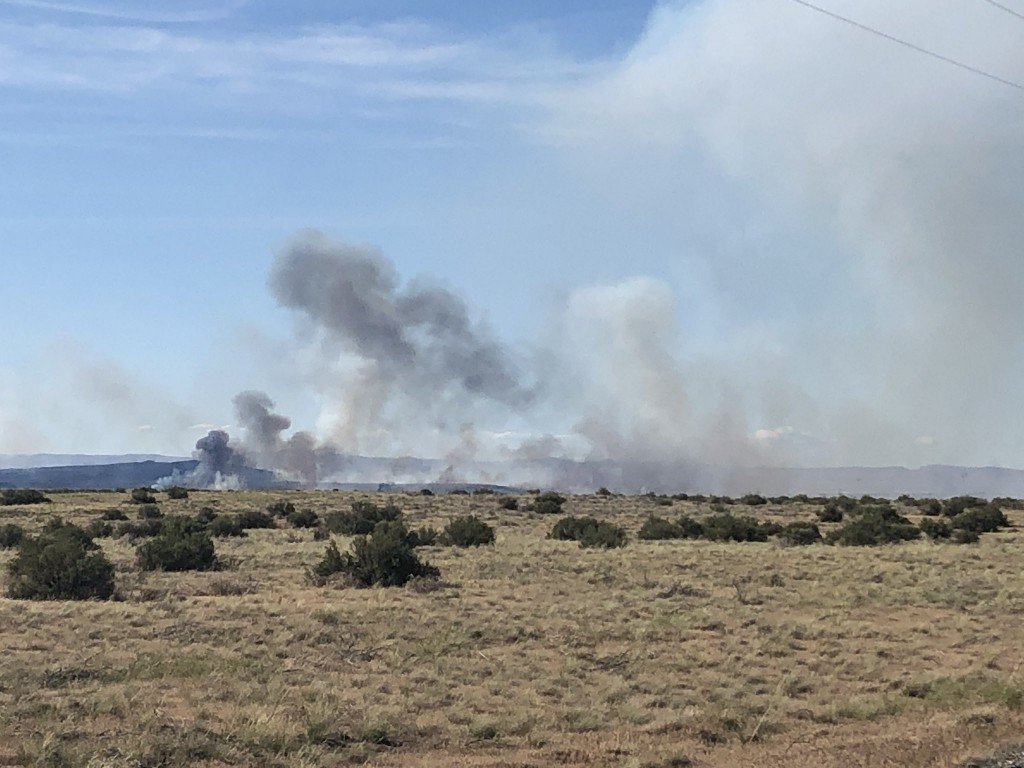 Smoke rising from Hanford area fire