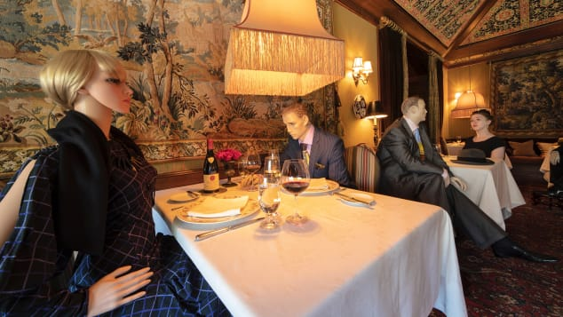 dining with mannequins