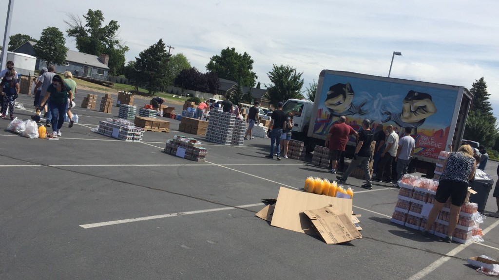Food distribution at Faith Tri-Cities