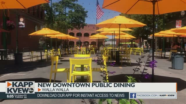 Outdoor Public Dining In Downtown Walla Walla Plaza