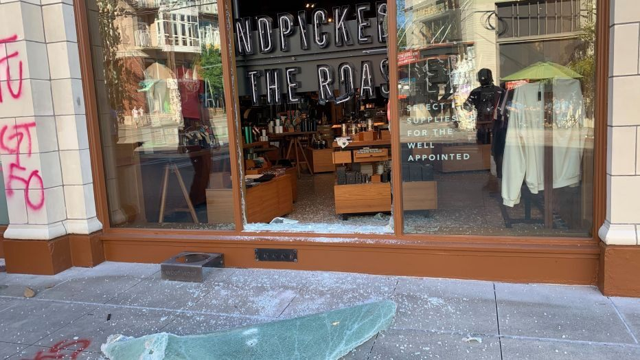 Windows Of A Starbucks Busted During Destructive March Through Downtown And Capitol Hill Sunday Afternoon (q13 News Photo)
