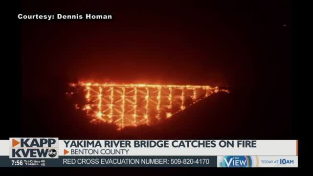 Yakima River Railroad Bridge Catches On Fire Between Benton City, Prosser