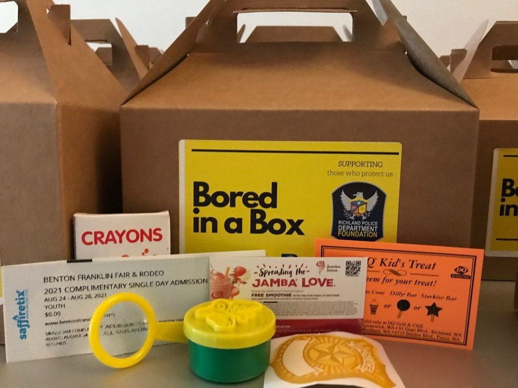Box with assorted items