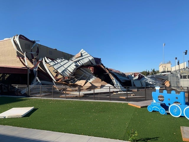 Roof blown off of Ancient Lakes Elementary