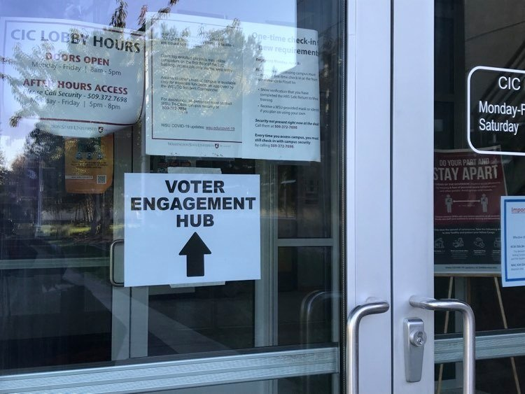 Voter engagement hub sign at WSU Tri-Cities