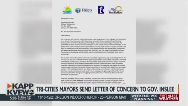 Tri Cities Mayors Send Letter To Governor Jay Inslee After Four Week Restrictions Put In Place