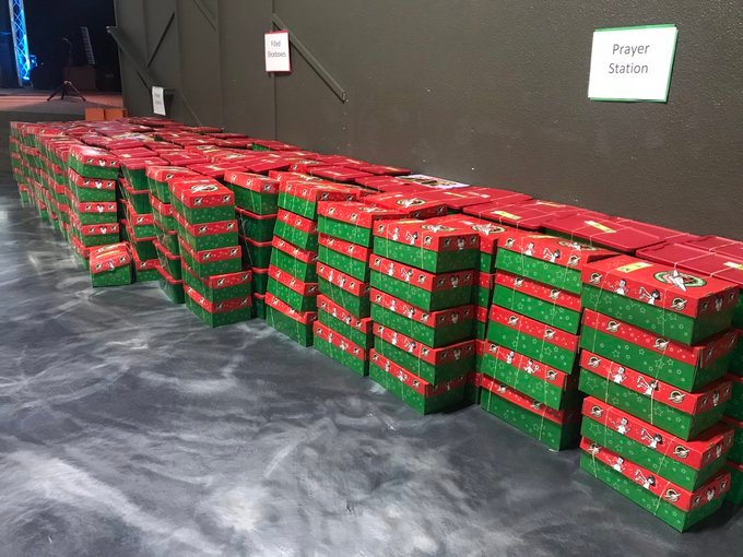 Filled giftboxes for Operation Christmas Child in Richland