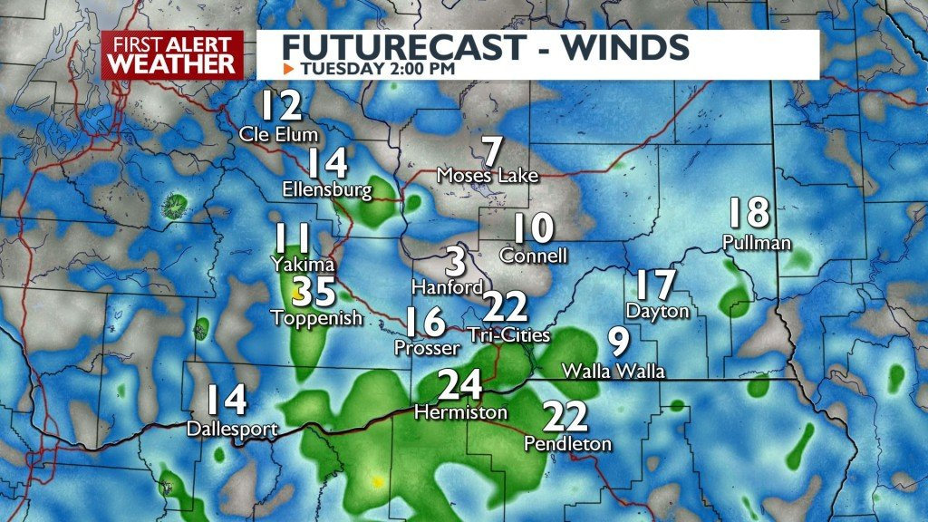 Wind gusts up to 30 MPH