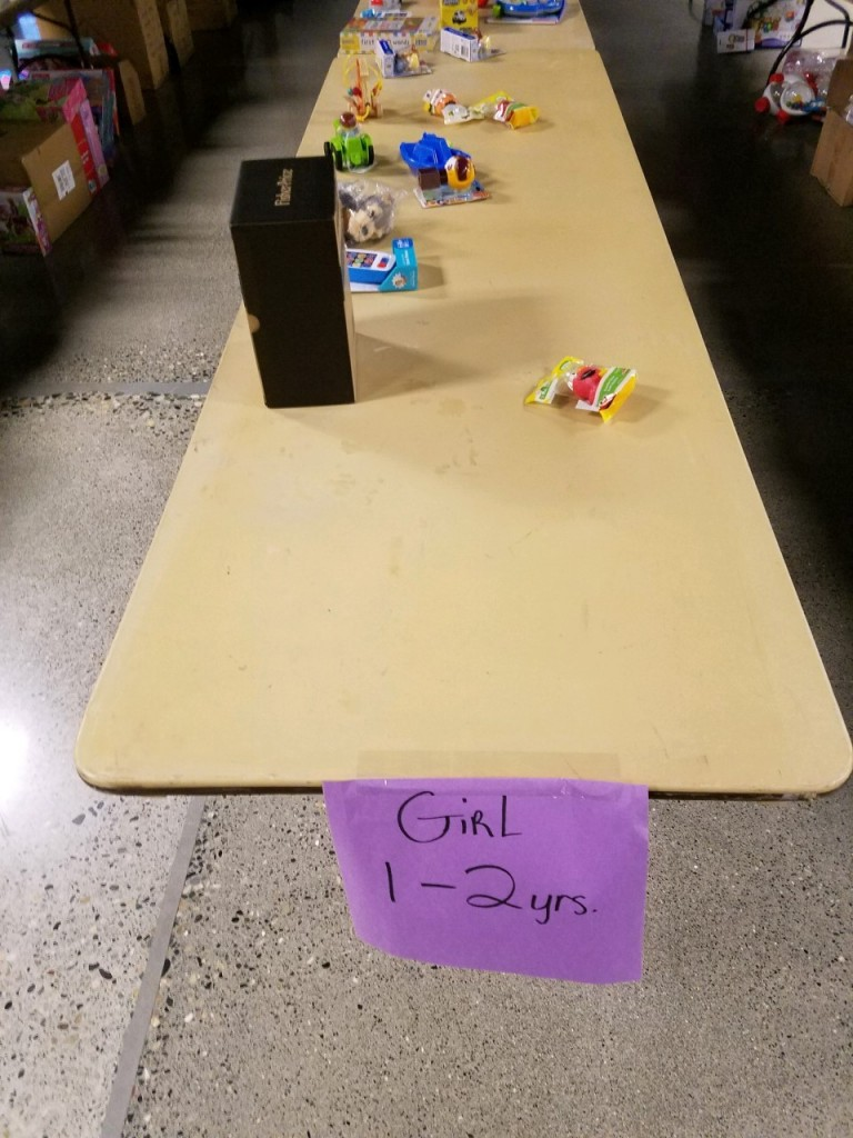 Toys for Tots table at Benton County Fairgrounds