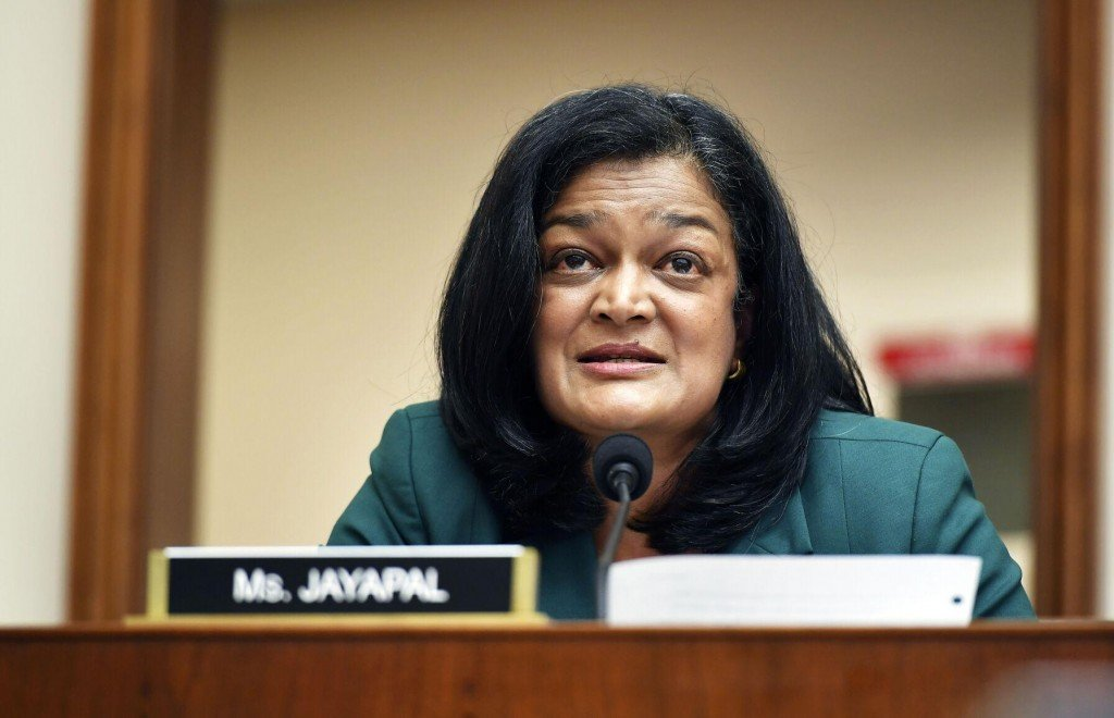 Rep. Pramila Jayapal, D-Wash., speaks during a House Judiciary subcommittee on antitrust on Capitol Hill on Wednesday, July 29, 2020, in Washington.