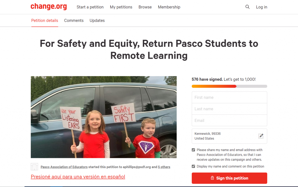 Change.org petition for Pasco elem. students to return to remote learning