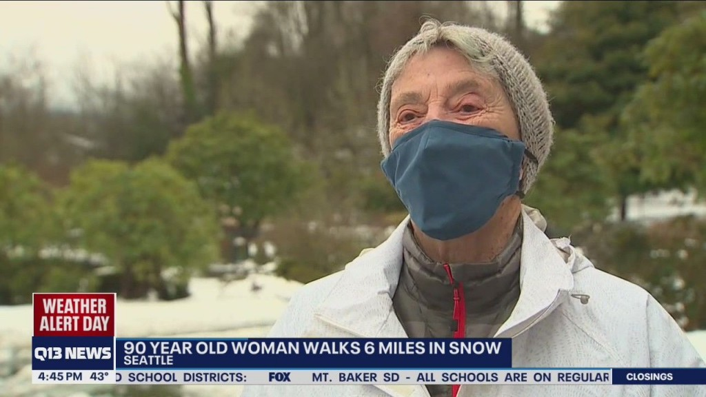 90-year-old woman walks to get vaccine