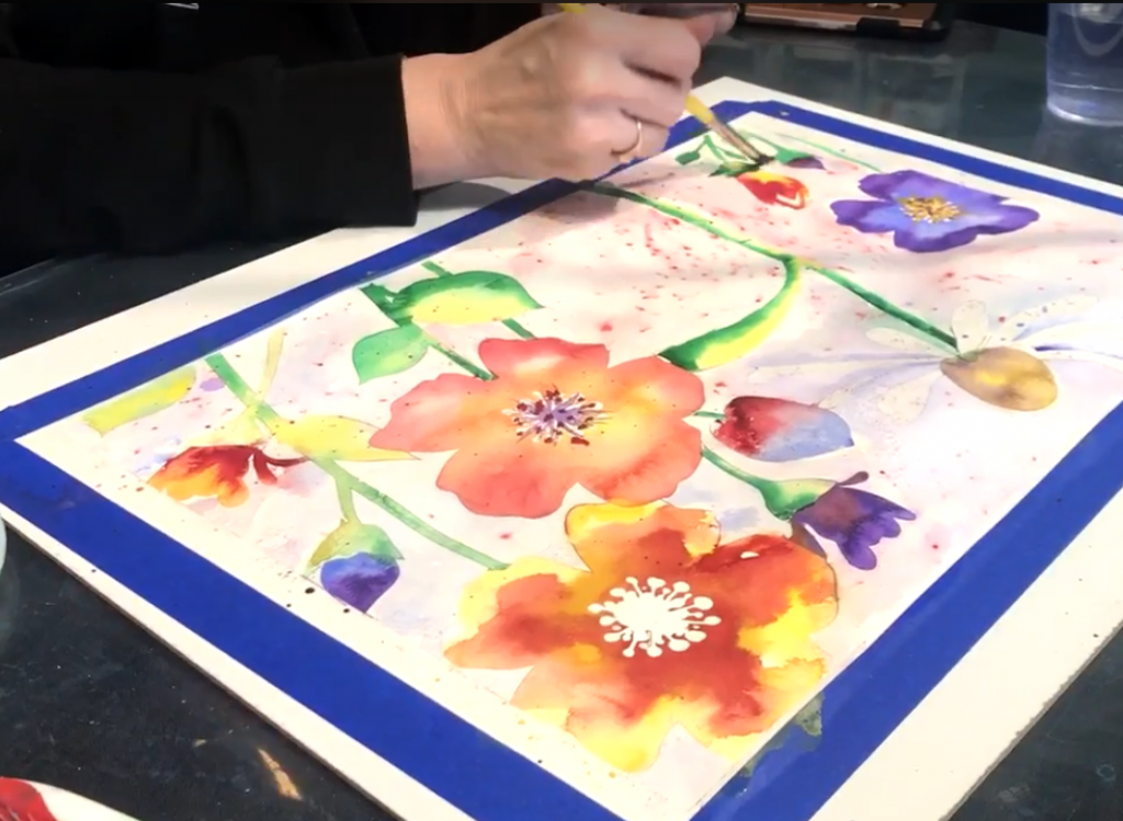 Becky Brice, the owner of The Wet Palette painting studio in Richland, WA, paints an original watercolor.