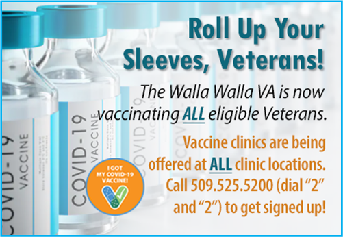 Event flyer for Walla Walla VA Veteran's vaccination clinic