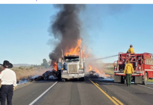 Semi-truck fire in Franklin County