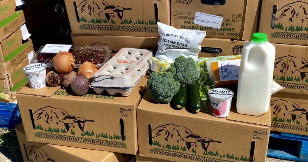 Groceries given away at a free food event in Pasco